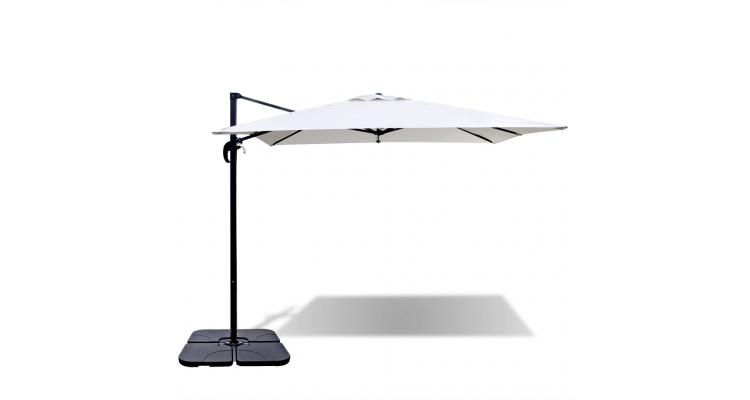 Umbrela Baza Portabila Aluminiu Alb Nisip Imagine