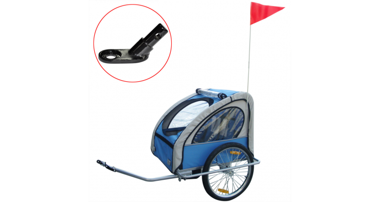 Remorca bicicleta pentru copii, cuplaj inclus, 36 kg, albastru