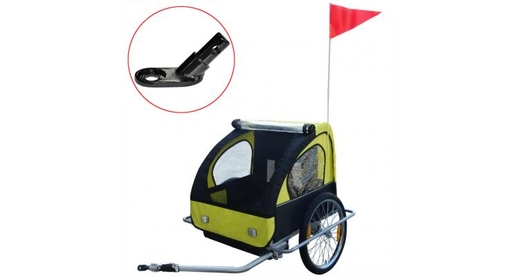 Remorca de bicicleta pentru copii, cuplaj inclus, 36 kg, galben