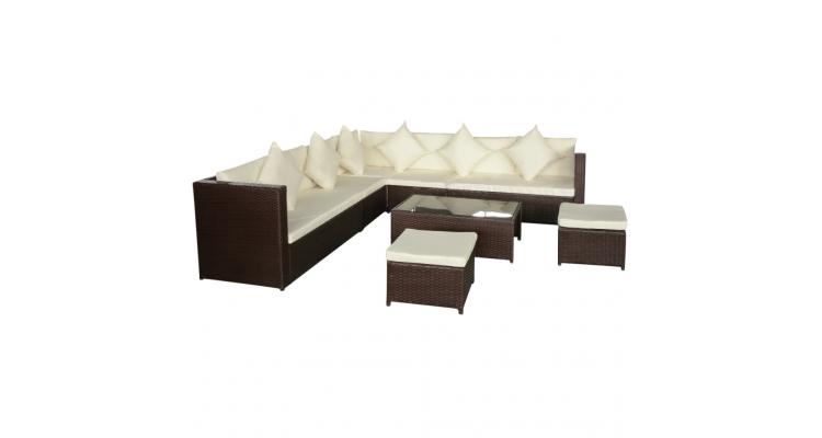 Set canapea de gradina din poliratan 29 piese, maro