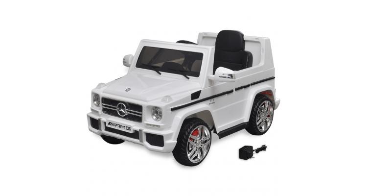 Masina de jucarie electrica Mercedes Benz G65 SUV cu 2 motoare, alb