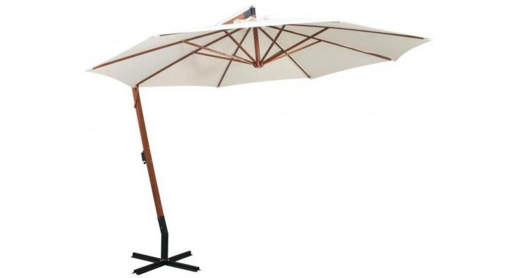Umbrela Soare Suspendata Stalp Lemn Alb - 13153