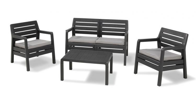 Set mobilier de gradina Delano Grafit Gri-rece - imitatie lemn imagine 2021 kivi.ro
