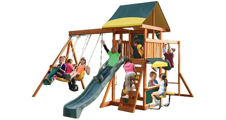 Complex de joaca din lemn de cedru premium Brookridge cu leagane Kidkraft imagine 2021 kivi.ro