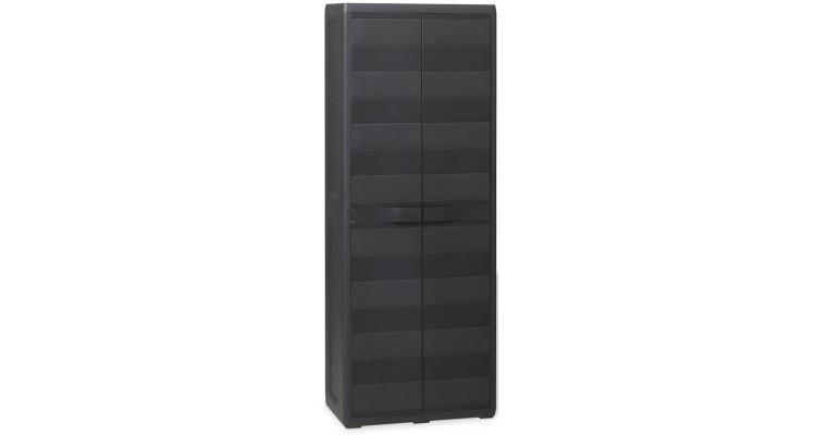 Dulap de depozitare pentru exterior cu 3 rafturi, negru