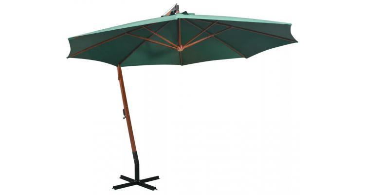 Umbrela Soare Suspendata Stalp Lemn Verde - 12972