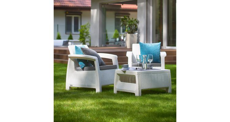 Set Mobilier Gradina Weekend Alb Gri Imagine