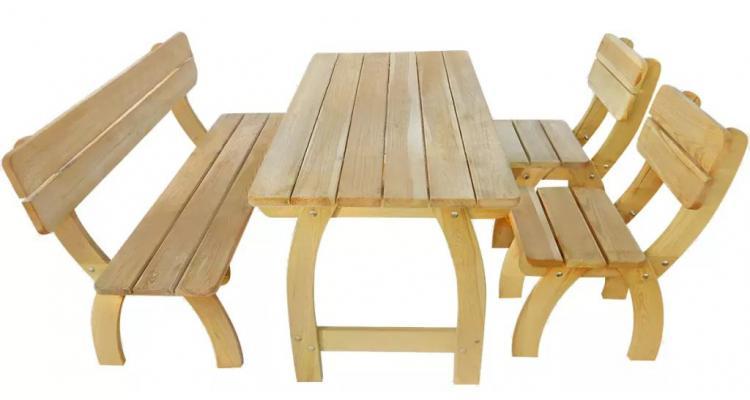 Set mobilier de exterior, 4 piese, lemn de pin tratat