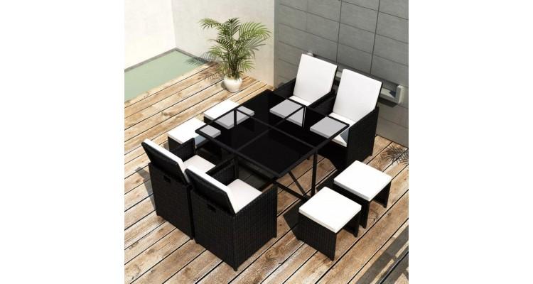Set mobilier de exterior 21 piese, poliratan, negru poza kivi.ro