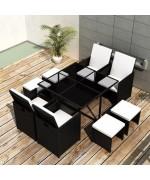 Set mobilier de exterior 21 piese, poliratan, negru