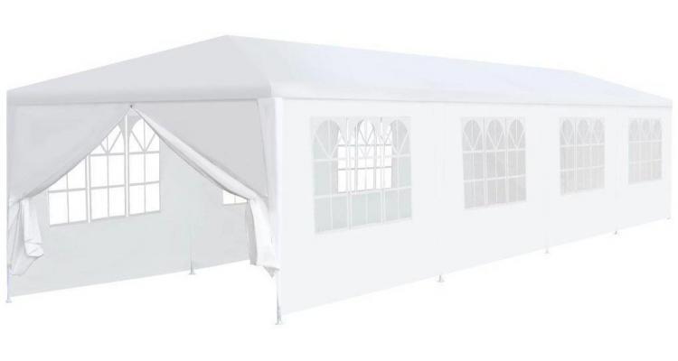 Pavilion de grădină 3 x 12 x 2,55 m alb