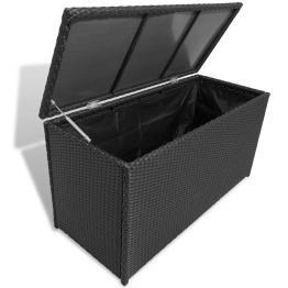 Cutie depozitare pentru grădină din poliratan, negru