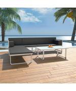 Set mobilier grădină, 13 piese, textilenă, aluminiu, negru/alb