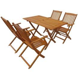 Set mobilier de exterior pliabil, 5 piese, lemn de acacia