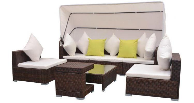 Set mobilier de gradina cu baldachin 23 piese, poliratan, maro poza kivi.ro