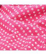 Pătură decorativă cu pătrățele, bumbac, 125 x 150 cm, roz