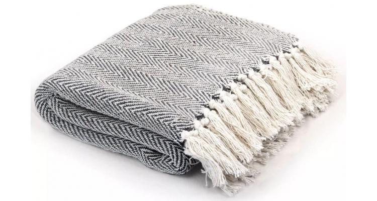 Pătură decorativă model spic, bumbac, 160 x 210 cm, bleumarin poza kivi.ro