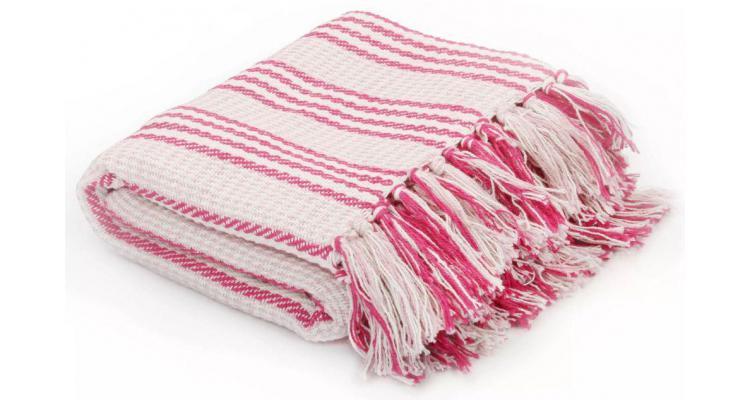 Pătură decorativă cu dungi, bumbac, 160 x 210 cm, roz și alb poza kivi.ro
