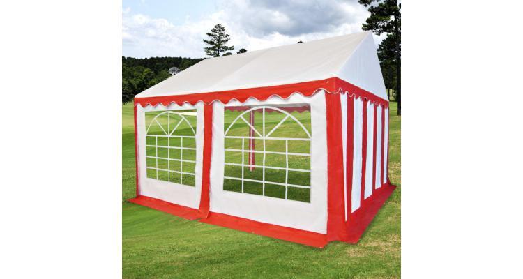 Pavilion de grădină PVC 3 x 4 m, roșu și alb imagine 2021 kivi.ro