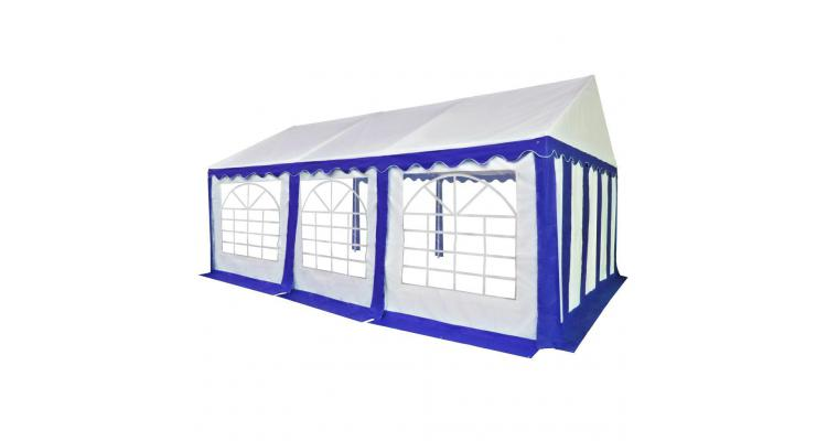 Pavilion de grădină PVC 4 x 6 m, albastru și alb imagine 2021 kivi.ro