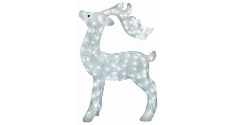 Figurina decorativa pentru Craciun tip REN, din acril 75 x 35 cm 200 LED-uri ALB RECE imagine 2021 kivi.ro