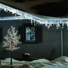 Pom decorativ luminat, tip CIRES inflorit 150 cm, 200 leduri, ALB CALD