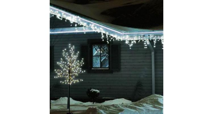 Pom decorativ luminat, tip CIRES inflorit 150 cm, 200 leduri, ALB CALD poza kivi.ro