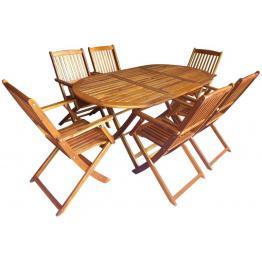 Set mobilier de exterior pliabil, 7 piese, lemn de acacia