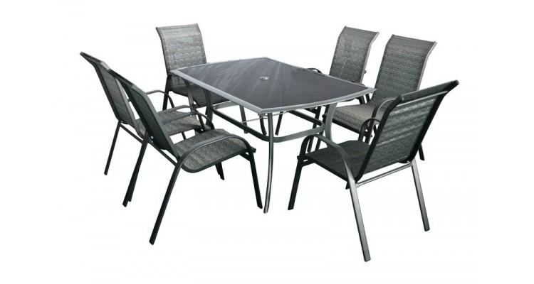 Honey Set 6 Masa cu 6 scaune schelet metalic