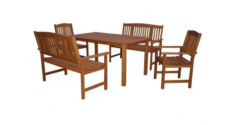 Weekend Set Masa cu 2 scaune si 2 banci lemn masiv