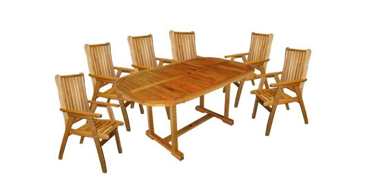 Rounded Set Masa cu 4 scaune lemn masiv
