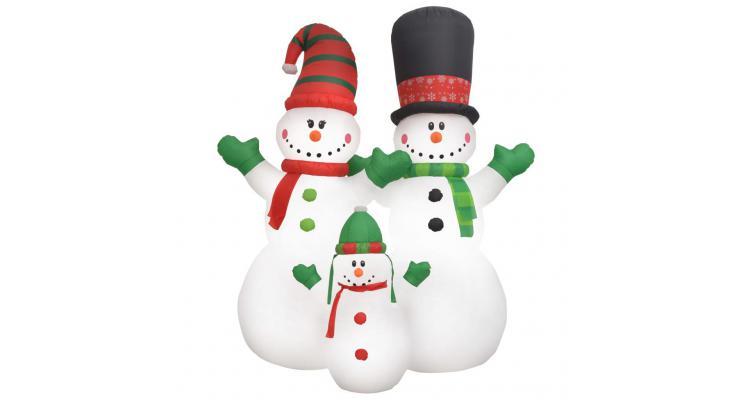 Oameni de zăpadă gonflabili, familia moșului, led ip44, 240 cm poza kivi.ro