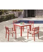 Set mobilier gradina masa si 4 scaune, dim. masa 90x90, Alb si Rosu