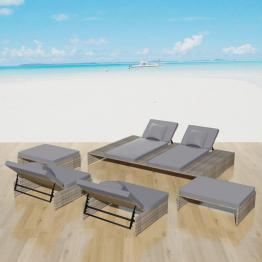 Set mobilier de exterior, 15 piese, poliratan, gri