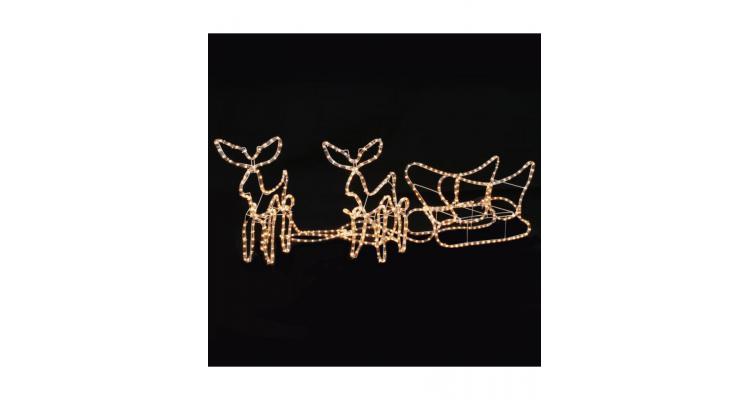 Instalatie de lumini Craciun, 2 reni si sanie, 300 x 24 x 47 cm poza kivi.ro