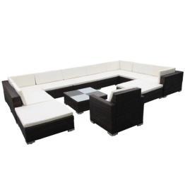 Set mobilier de grădină din poliratan, maro