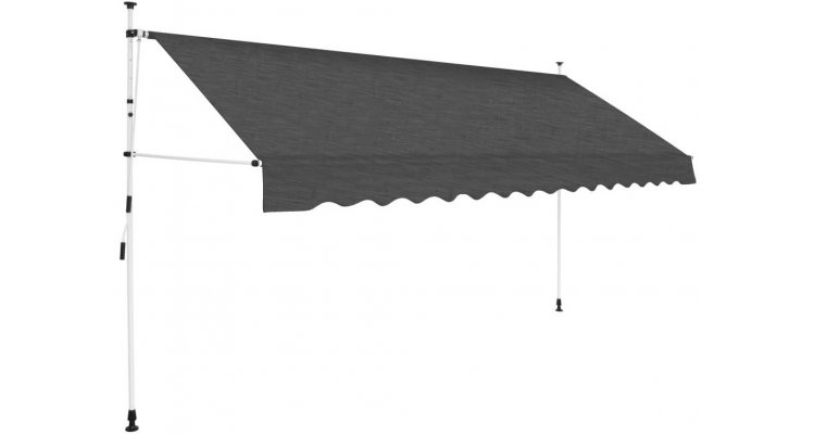 Copertina retractabila manual, 400 cm, antracit imagine 2021 kivi.ro