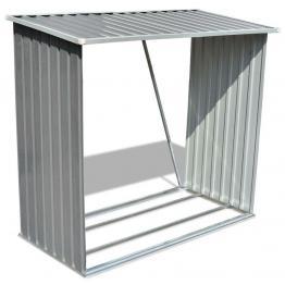 Șopron pentru depozitare lemne, oțel galvanizat, gri