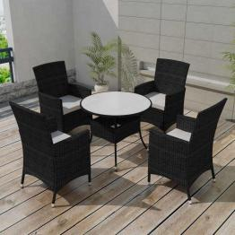 set mobilier de grădină 9 piese, poliratan, negru