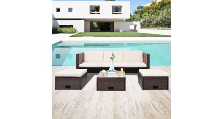 set mobilier de grădină, 12 piese, poliratan, maro imagine 2021 kivi.ro