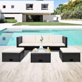 set mobilier de grădină, 12 piese, poliratan, negru