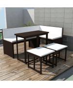 set mobilier de grădină, 12 piese, poliratan, maro