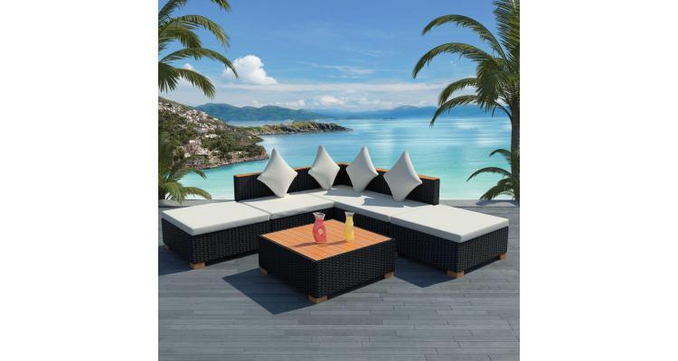set mobilier de grădină 15 piese, poliratan, blat wpc, negru imagine 2021 kivi.ro