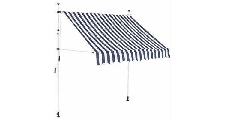copertină retractabilă manual, 150 cm, dungi albastru și alb poza kivi.ro