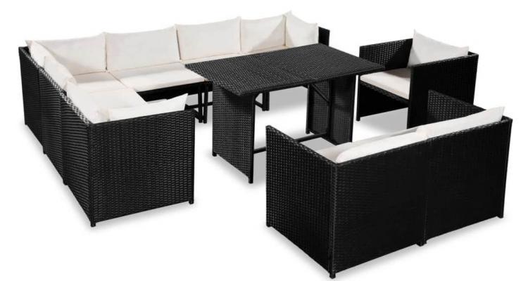 Set mobilier gradina, 31 piese, poliratan, negru si alb crem