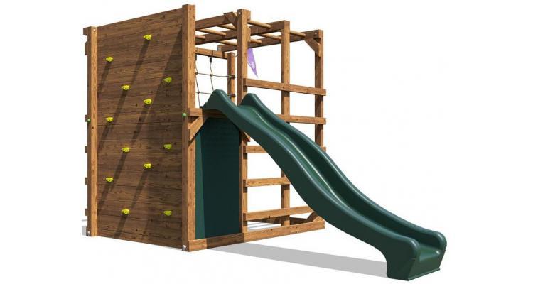 Complex de joaca Fort Challenge cu Zid de Catarat si Tobogan, 2x3.5m, Dunster House poza kivi.ro