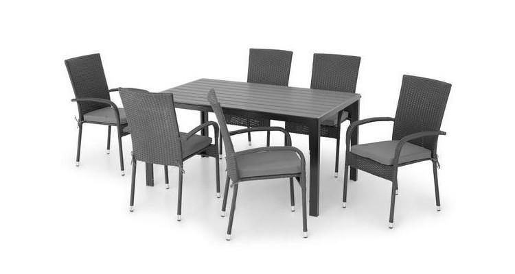 Set 6 scaune si masa dreptunghiulara mica PRESLEY/ENCORE negru poza kivi.ro