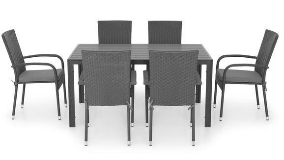 Set 6 scaune si masa dreptunghiulara mica PRESLEY/ENCORE  negru