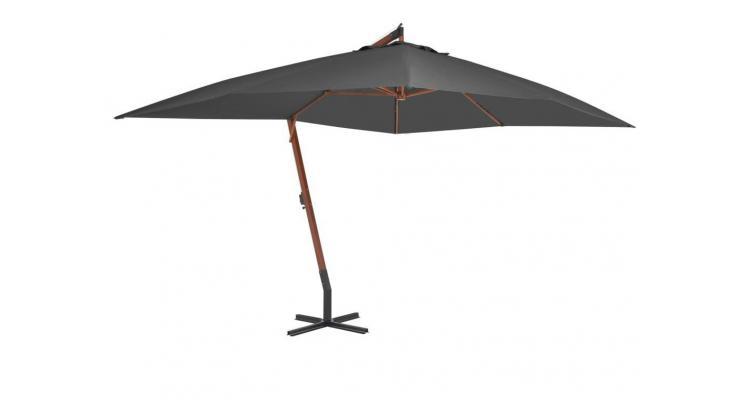 Umbrelă suspendată cu stâlp din lemn, antracit, 400 x 300 cm
