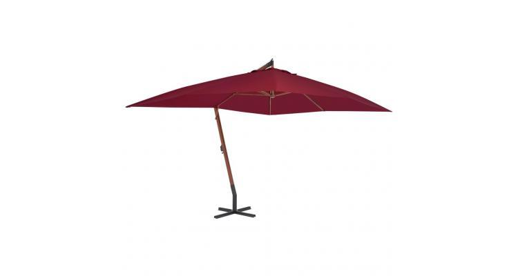 Umbrelă suspendată cu stâlp din lemn, roșu bordo, 400x300 cm